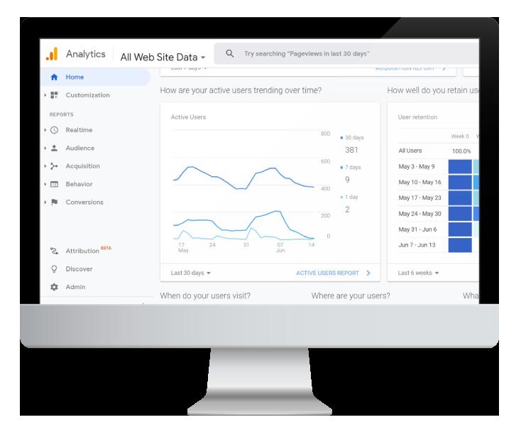Google Analytics prezentate pe desktop