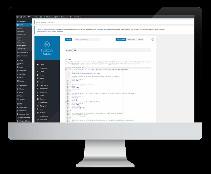 Interfata wordpress prezentata pe desktop