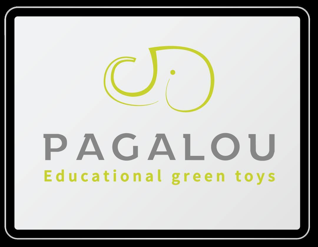 Imaginea ilustreaza logo-ul companiei Pagalou Educational green toys.